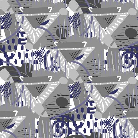 Abstract seamless pattern with triangles, lines, blots and other shapes
