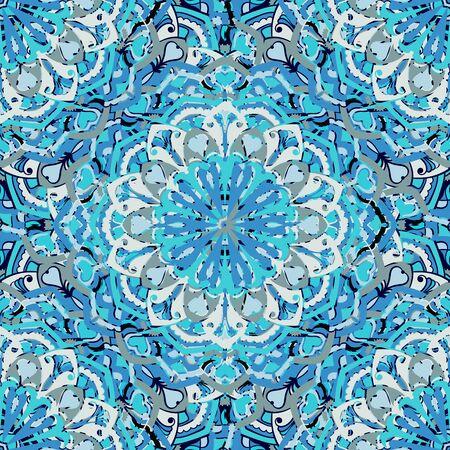 Decorative seamless background. Ethnic mandala pattern. Round ornamental elements