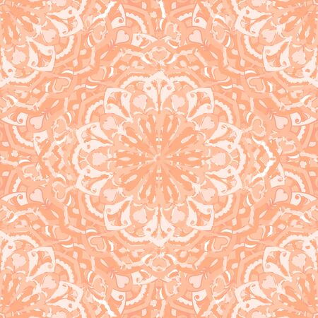 Seamless decorative background. Ethnic mandala pattern. Round ornamental elements