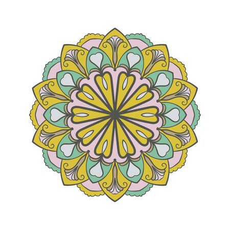 Mandala colorful background. Ethnic decorative element in circle. Hand drawn pattern  イラスト・ベクター素材