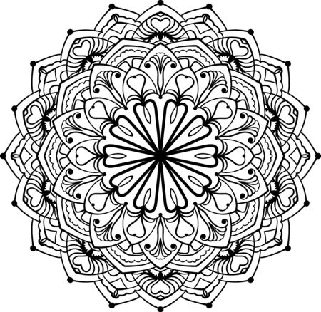 Mandala background. Ethnic decorative lacy floral element in circle. Hand drawn pattern. Coloring book page.