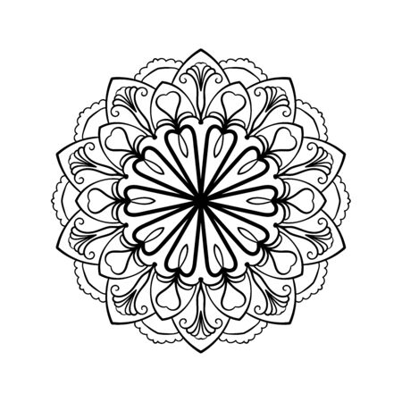 Mandala background. Ethnic decorative lacy floral element in circle. Hand drawn pattern. Coloring book page