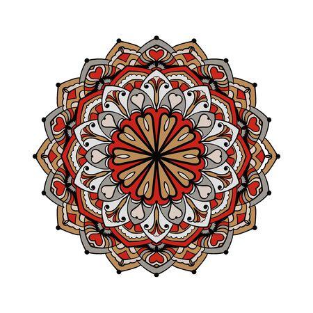 Mandala background. Ethnic decorative element in circle. Hand drawn colorful pattern