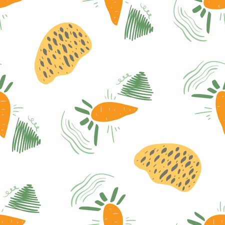 Stylized funny carrot seamless pattern. Decorative background