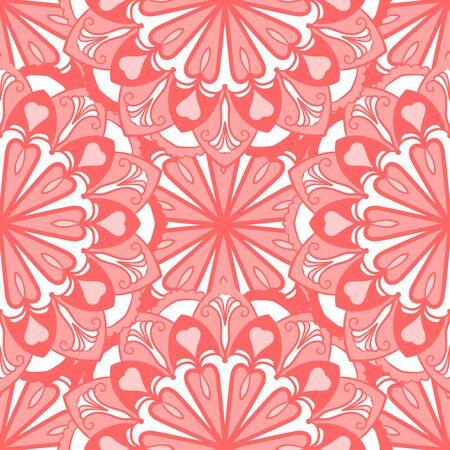 Seamless decorative seamless background. Ethnic mandala pattern. Round ornamental elements  イラスト・ベクター素材
