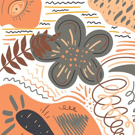 Vector background of abstract shapes and lines. Abstract creative pattern for poster, banner, fabric, textile, stationery, flyer, invitation, greeting cards design. Not seamless.  イラスト・ベクター素材