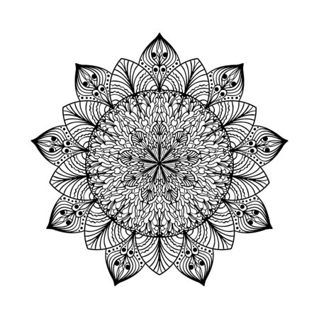 Lacy mandala for adult coloring book pages, stickers, cards.  イラスト・ベクター素材