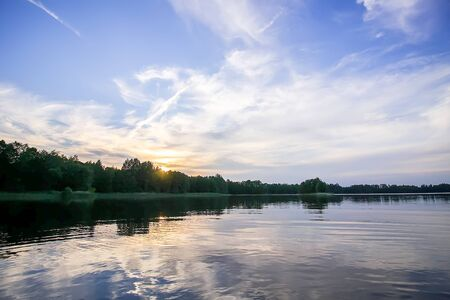 Scenic view to landscape with lake in Latvia, Latgale, East Europe. Summer nature