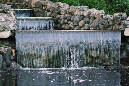 Flowing water on Bastion hill in Riga, Latvia, East Europe.
