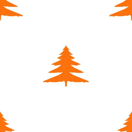 Seamless decorative pattern of simple bright colorful spruce tree elements. 向量圖像