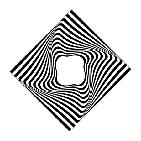 Abstract twisted black and white figure.