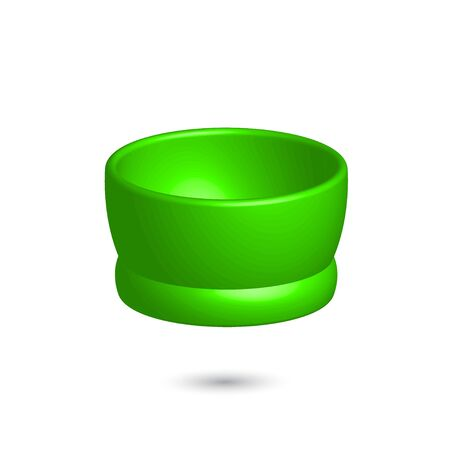 Vector 3 d green cup. Bright colorful volumetric shape. Element for design on white background 矢量图像