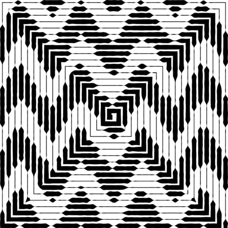 Zigzag pattern. Not seamless Black and white vector illustration. Grunge wavy line background.