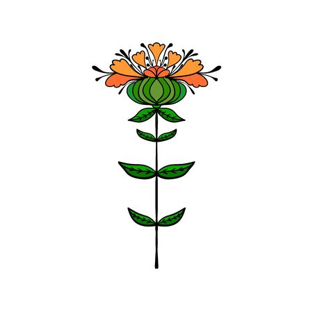 Symmetrical flower in ethnic style. Summer, spting decorative floral element for cards, poster, scrapbook, textile design Ilustracje wektorowe