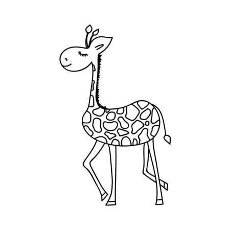 Vector illustration of funny cartoon style giraffe. Coloring book element Illustration