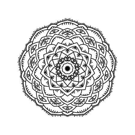Mandala. Ethnic decorative element for coloring book page. Hand drawn round pattern 일러스트