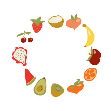 Cute hand drawn card with funny fruit image. Banana, pitaya, watermelon slice, kiwi, avocado, peach, strawberry, cherry, coconut, apple and peach fruits in the shape of circle or frame.