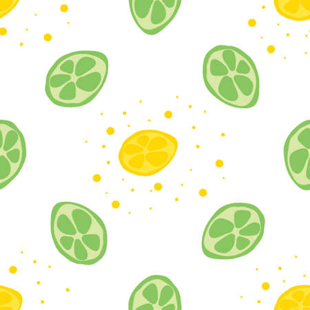 Seamless texture. Decorative background design with summer fruits. Colorful vector pattern for textile, stationery, wallpaper Ilustrace