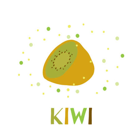 Cute hand drawn card with funny green kiwi fruit image Ilustrace