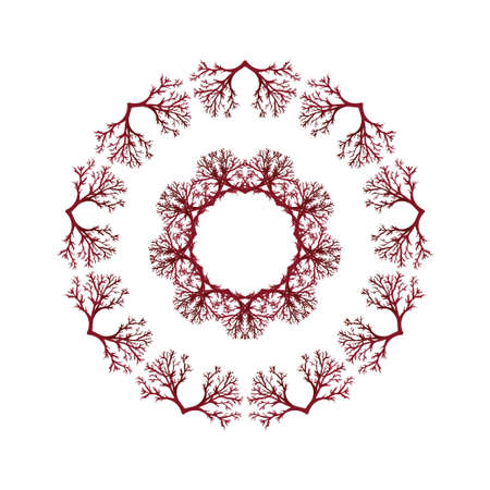 Mandala round pattern. Frame or border of stylized trees. Ethnic style decorative hand drawn herbal element. Hand drawn background Ilustrace