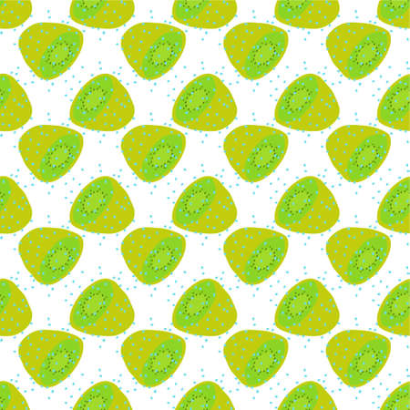 Seamless texture. Decorative background design with summer kiwi fruits. Colorful vector pattern for textile, stationery, wallpaper Ilustrace