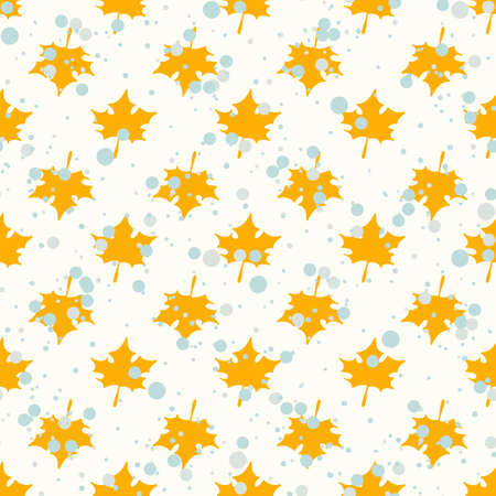 Seamless pattern with herbal elements. Decorative texture of yellow maple leaves for wallpaper, textile, stationery, scrapbook, web, wrapping paper. Herbal background. Ilustrace