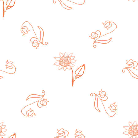 Seamless pattern with floral and herbal elements. Decorative texture for wallpaper, textile, stationery, scrapbook, web, wrapping paper. Herbal background.