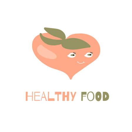 Healthy food quote. Cute hand drawn card with funny cartoon peach fruit image Ilustrace