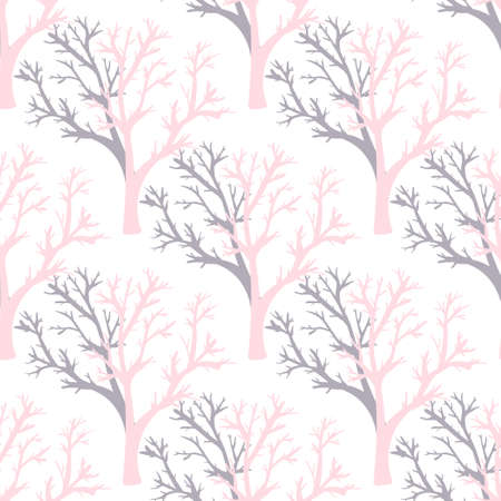 Seamless pattern with herbal elements. Decorative texture with stylized trees for wallpaper, textile, stationery, scrapbook, web, wrapping paper. Herbal background.