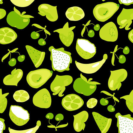 Seamless texture. Decorative background design with banana, avocado, cherry, strawberry, lime, kiwi, apple and coconut summer fruits. Colorful vector pattern for textile, stationery, wallpaper, wrapping paper, web, scrapbook.