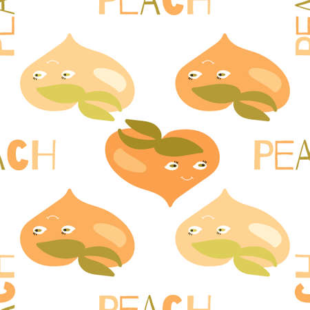 Seamless texture. Decorative light background design with summer stylized peach fruits. Colorful vector pattern for textile, stationery, wallpaper, wrapping paper, web, scrapbook Ilustrace
