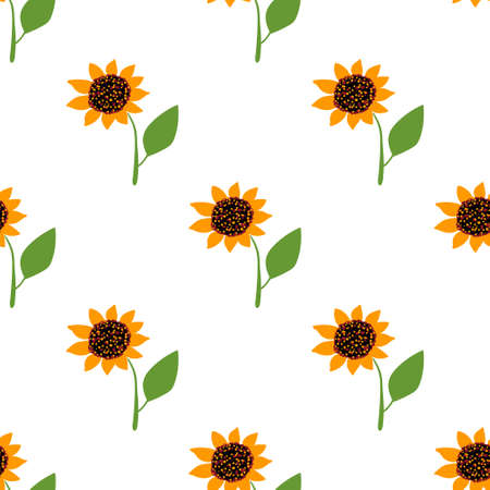 Seamless pattern with floral and herbal elements. Decorative texture of sunflowers for wallpaper, textile, stationery, scrapbook, web, wrapping paper. Herbal background. Ilustración de vector
