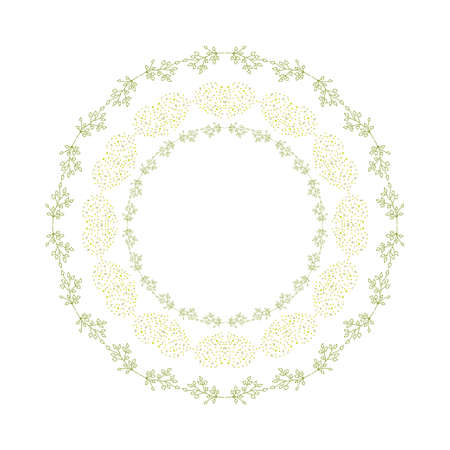 Herbal round pattern. Frame or border of leaves and flowers. Ethnic style decorative hand drawn herbal element. Hand drawn background. Ilustrace