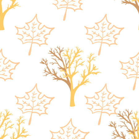 Seamless pattern with herbal elements. Decorative texture of maple leaves and trees for wallpaper, textile, stationery, scrapbook, web, wrapping paper. Herbal background.