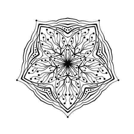 Mandala round pattern. Ethnic style decorative hand drawn lacy abstract element. Hand drawn background. Sacred geometry symbol for meditation, art-therapy Coloring book page element.