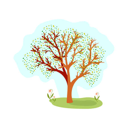 Tree with green leaves on the meadow hand drawn silhouette on white background. Vector illustration. Ilustrace