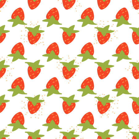 Seamless texture. Decorative background design with strawberry summer fruits. Colorful vector pattern for textile, stationery, wallpaper