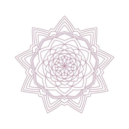 Floral mandala decorative lacy pattern. Coloring book page element Ilustração