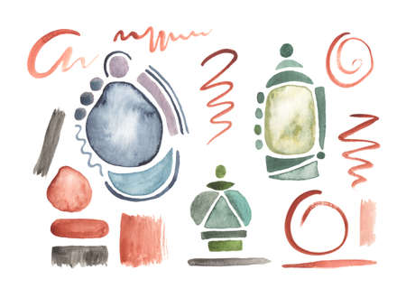 Set of watercolor geometric shapes and brush strokes. Hand painted design elements.