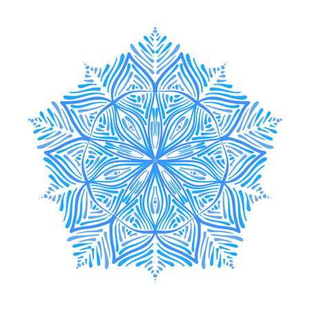 Abstract ornate blue snowflake