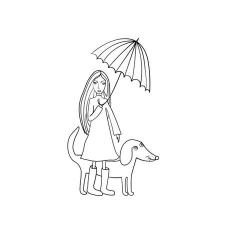 Funny dog and young girl with umbrella. Vector illustration. Coloring book page.