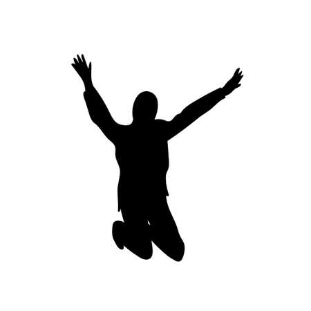 Black silhouete of the jumping or dancing young girl. Vector illustration. 矢量图像