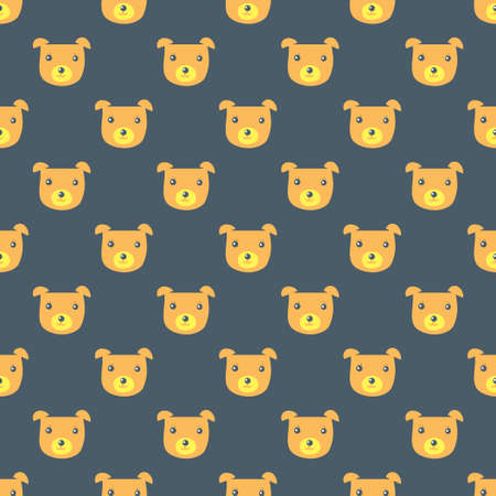 Seamless vector background. Decorative texture. Colorful pattern with funny bear head Ilustrace