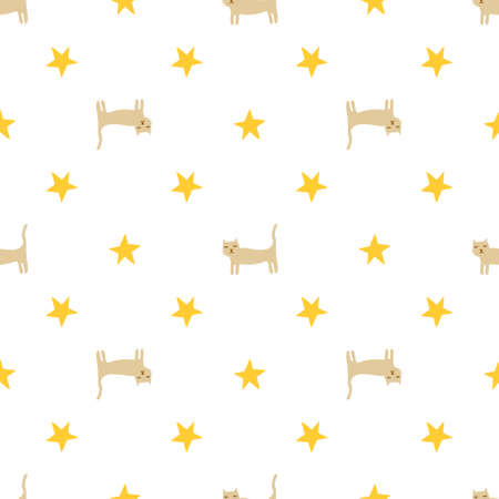 Seamless vector background. Decorative texture. Colorful pattern with funny kittens and yellow stars