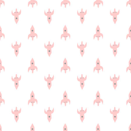 Seamless vector background. Decorative texture. Colorful pattern with pink rockets