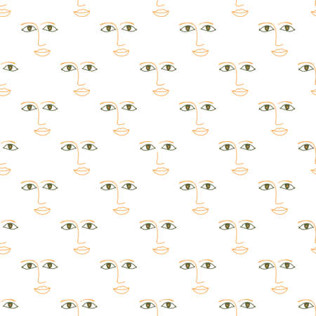 Seamless vector background. Decorative texture. Colorful pattern with face contour.