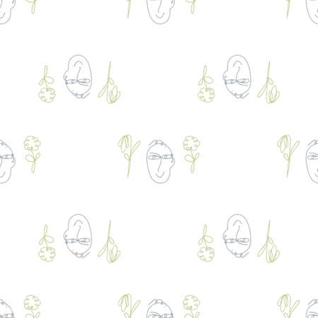 Seamless decorative vector pattern with face and flower contours. Line art style. Colorful background for wallpapers, textile, paper, scrapbook design. Ilustrace