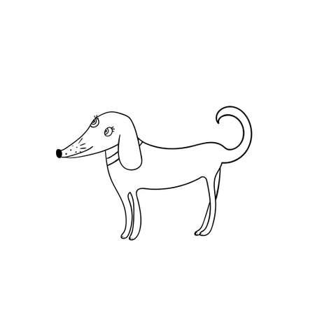 Vector illustration of cute cartoon style dog