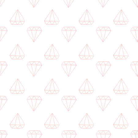 Seamless decorative vector pattern with pink crystals
