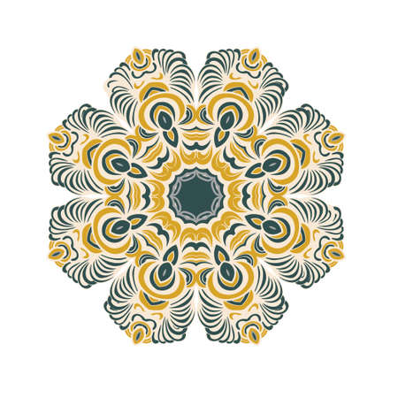 Mandala oranment. Ethnic decorative element. Hand drawn floral background.